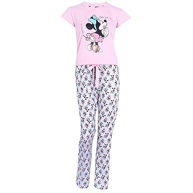 Schlafanzughose Damen Pyjama Schlafhose Disney Minnie Mouse Baumwolle rosa
