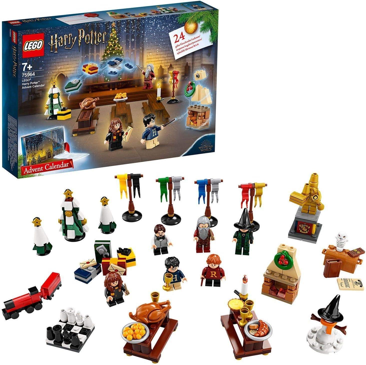 LEGO Harry Potter - Calendario de Adviento 2019, Juguete de Construcción con 7 Minifiguras del Mundo Mágico, un Mini Tren de Hogwarts y a Hedwig (75964)