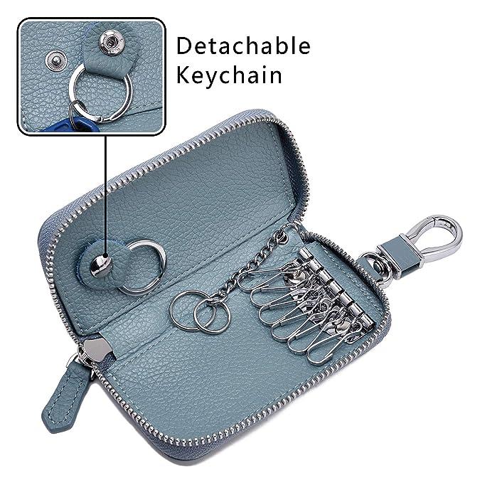 Amazon.com: Funda de piel con cremallera para llaves de ...