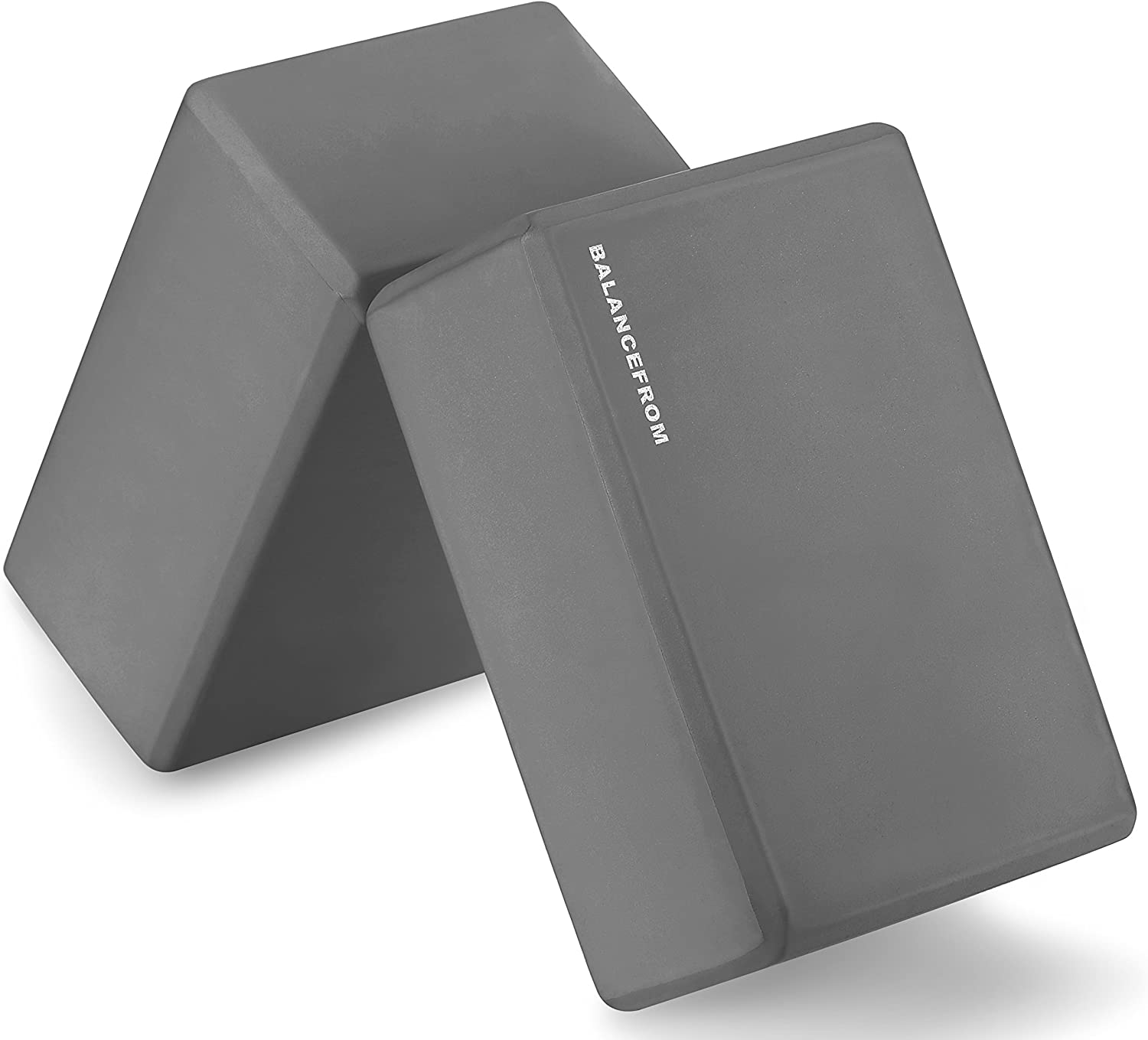 "BalanceFrom GoYoga Set of 2 High Density Yoga Blocks, 9""x6""x4"" Each [Newest Version]"