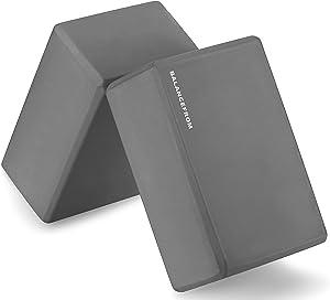 "BalanceFrom GoYoga Set of 2 High Density Yoga Blocks, 9""x6""x4"" Each [Newest Version]"