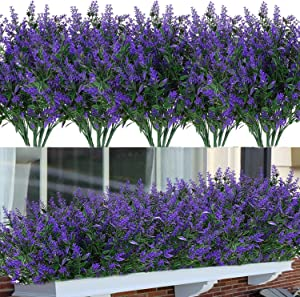 20 Bundles Artificial Flowers Outdoor Decoration UV Resistant Faux Plastic Lavender Greenery Shrub Fake Flowers Plants Indoor Outside Wedding Home Garden Office Window Box Hanging Plante Décor(purple)
