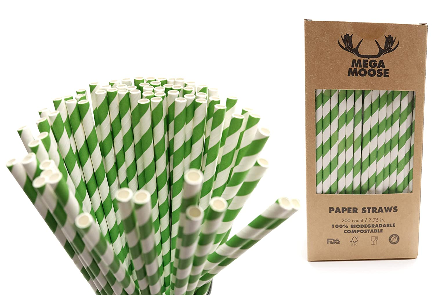 Mega Moose Biodegradable Paper Straws - 200 ct. Striped Paper Drinking Straws with Ultra Compost - Bulk Paper Straws for Wedding Decorations, Smoothies, Bridal Showers, and Baby Showers (Green)