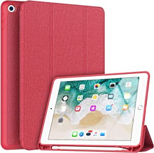 Soke iPad 9.7 2018/2017 Case with Pencil Holder, Smart iPad Case Trifold Stand with Shockproof Soft TPU Back Cover and Auto Sleep/Wake Function for iPad 9.7 inch 5th/6th Generation, Red