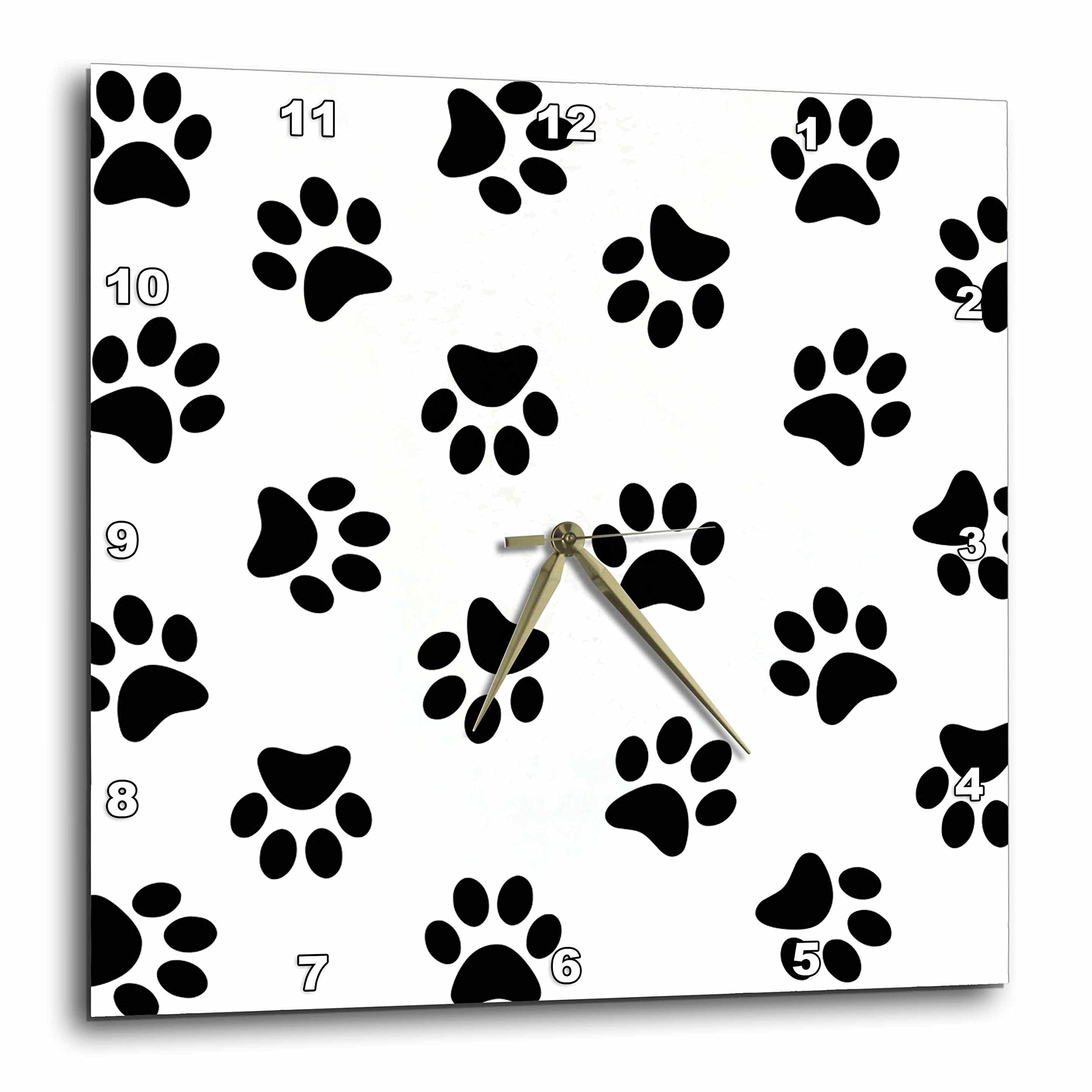 3dRose Paw Print Pattern - Black Pawprints on White - Cute Cartoon Animal Eg Dog or Cat Footprints - Wall Clock, 10 by 10-Inch (dpp_161521_1)