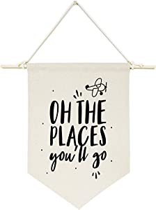 The Cotton & Canvas Co. Oh The Places You'll Go Hanging Wall Canvas Banner for Baby Girl, Baby Boy, Nursery, Teen and Kids Room