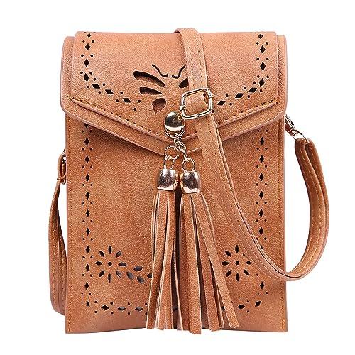 HDE Crossbody Bags for Women Small Leather Fringe Tassel Crossover Satchel  Purse 60c0837299f0c