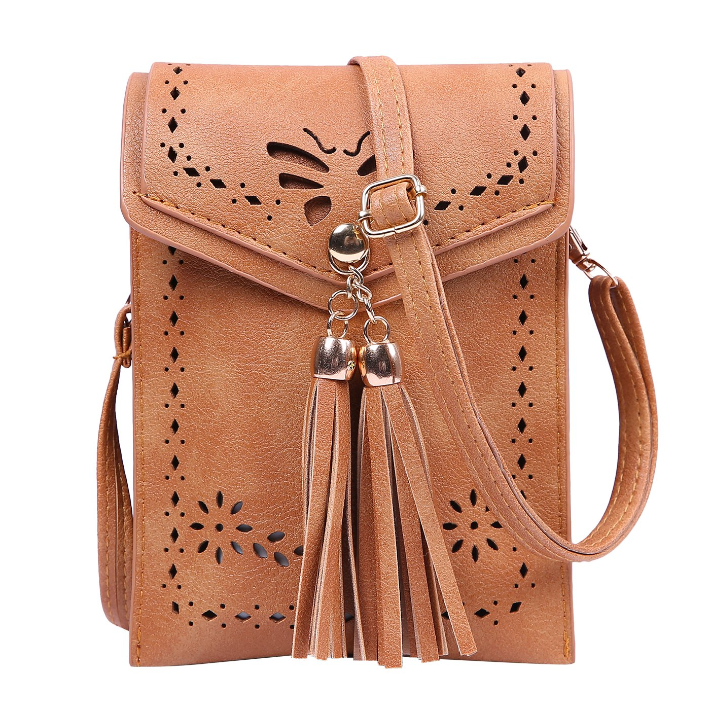 HDE Small Crossbody Pouch Purse Tassel Travel Phone Wallet Vintage Leather Bags (Brown) by HDE (Image #1)