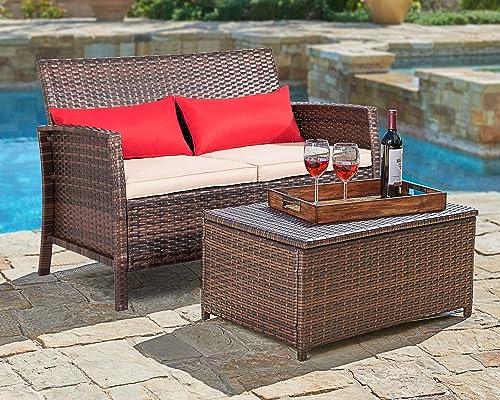SUNCROWN Outdoor Furniture 2-Piece Patio Wicker Love-seat