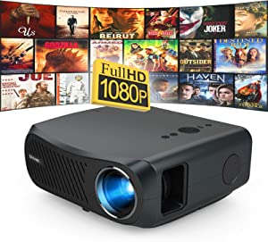 WIKISH Native 1080p Projector 7000 Lumen Led Outdoor Movie Projector Full HD 200 Inch Display for Home Theater Dvd Tv Laptop Ps4 Pc Hdmi Usb Stick Av