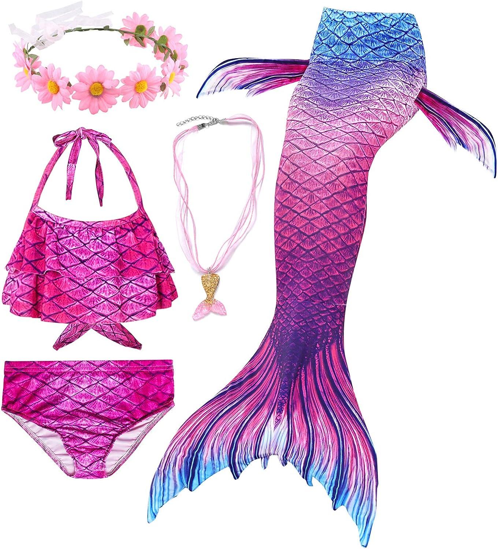Conjunto de 5 Piezas Cola de Sirena para Nadar para ni/ñas Traje de ba/ño Sirena Incluyendo Coronas y Collares