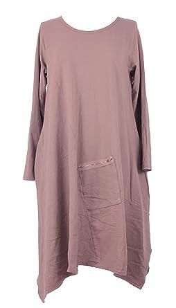 6347177c96 TEXTURE Ladies Women Italian Lagenlook Long Sleeve Zip Pocket Cotton Tunic Midi  Dress One Size Plus