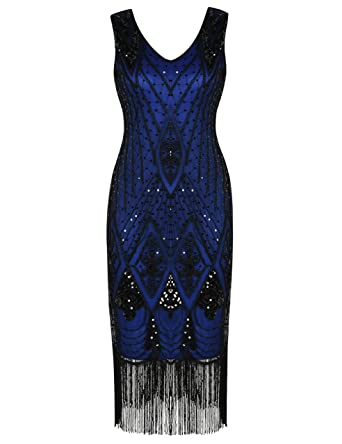 PrettyGuide Women 1920s 1920s Gatsby Cocktail Sequin Art Deco Flapper Dress  S Blue f6d5179bee5f