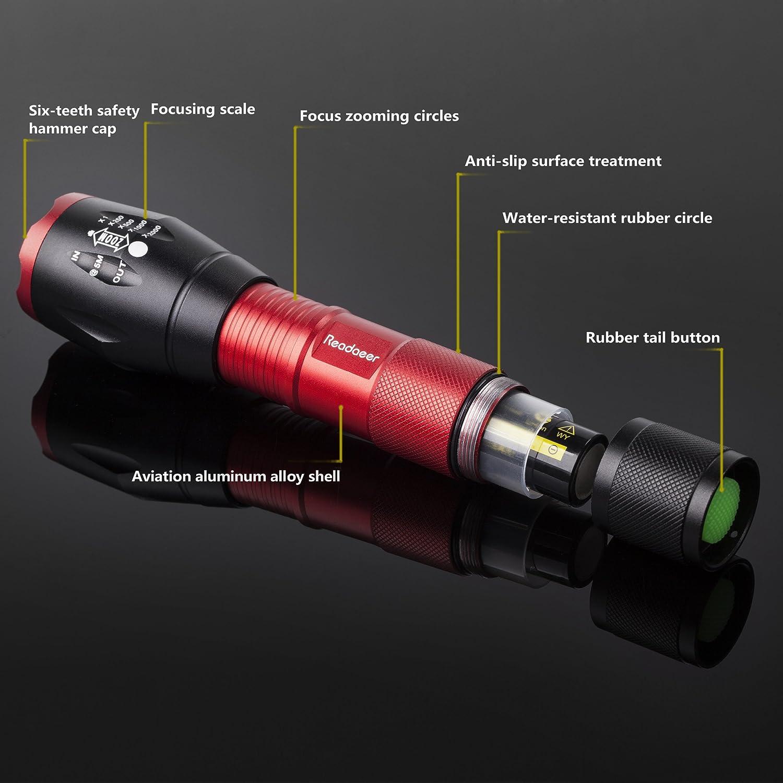 nicht im Produkt enthalten 2 St/ück MEHRWEG Zoombar IPX6 Spritzwassergesch/ützt Handlampe f/ür Outdoor Camping Sports Taschenlampe mit Batterie Readaeer Super Bright CREE T6 LED Blau