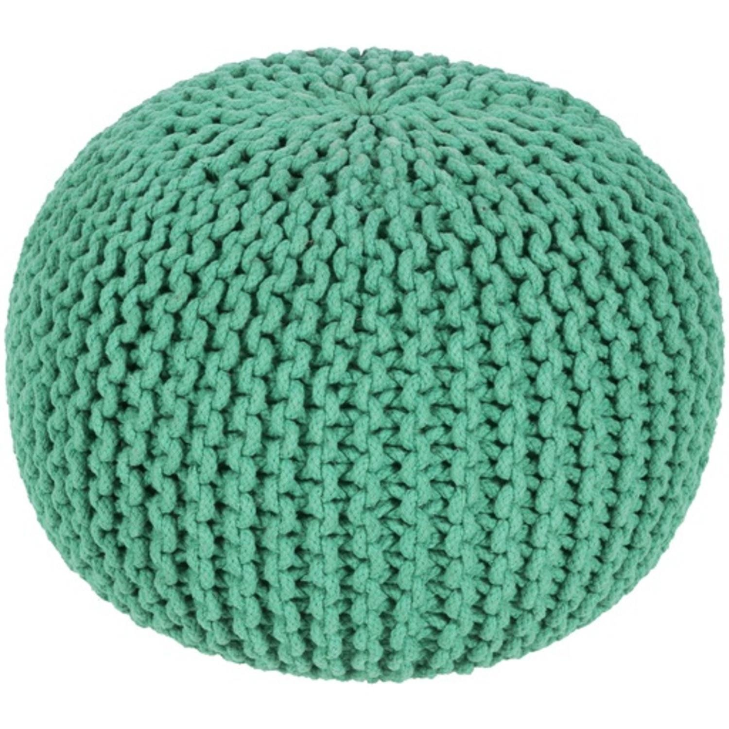 20'' x 14'' Hermosa Peppermint Green Hand Crafted Cotton Round Pouf Ottoman by Diva At Home