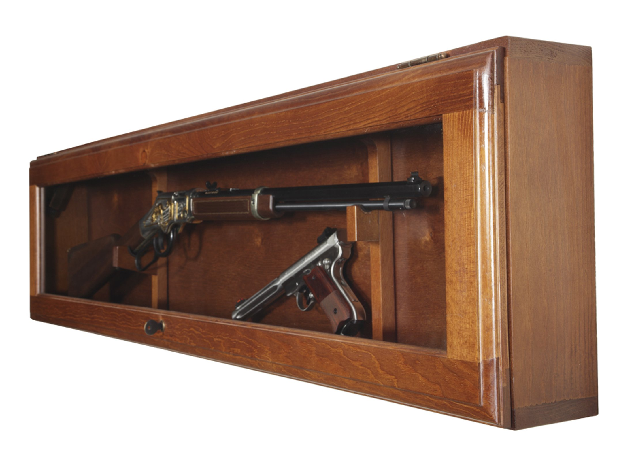 Wall Mounted Gun Display Cabinet Horizontal Wooden Shotgun