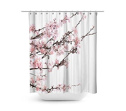 Amazon.com: Livilan Shower Curtain Set with 12 Hooks Cherry Blossom ...