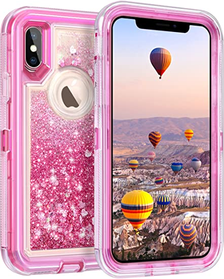 Coolden Case For Iphone X Case Protective Glitter Case For Women Girls Cute Bling Sparkle Quicksand Heavy Duty Hard Shockproof Tpu Cover For 5 8 Inches Apple Iphone X Iphone 10 Pink