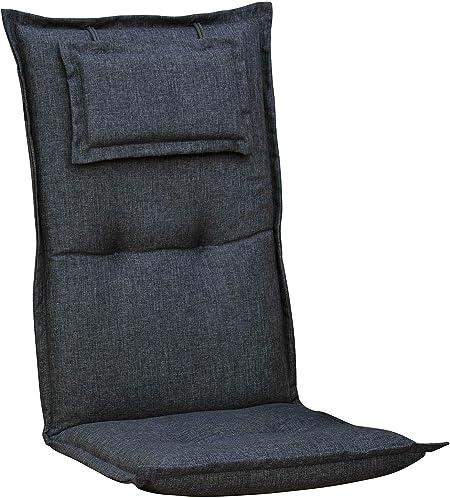 Auflagen für Hochlehner mit Kopfpolster in anthrazit Sessel Stuhl Gartenpolster
