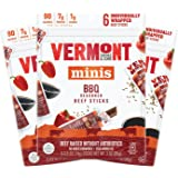 Vermont Smoke & Cure Mini Meat Sticks, Beef, Antibiotic Free, Gluten Free, BBQ, .5oz Meat Stick, 6 Count Go Pack, Pack of 3