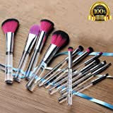 Makeup Brush Set Premium Synthetic Foundation Powder Concealers Eye Shadows Crystal Makeup Brushes Sets 12 Pcs by CCidea