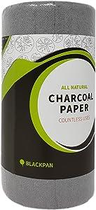 BLACKPAN Charcoal Paper | Air Purifying Sheets | Odor Eliminator | Food Saver Sheets | Paper Towel Format (100 Sheets)