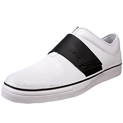 PUMA Men's EL Rey Cross Perf Leather Slip-On Sneaker,White/Black/
