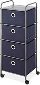 Whitmor 4-Drawer Rolling Evening Blue Storage Cart, 4-Tier