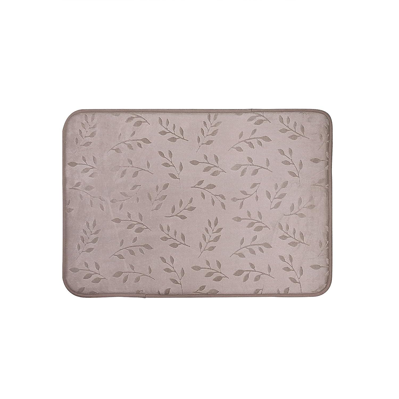 Popular Bath Memory Foam Bath Rug Emboss Leafy Collection 17 x 24 Taupe
