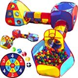 Playz 5pc Kids Playhouse Jungle Gym Ball Pit with Dart Board & 5 Sticky Balls - Fold Up Pop Up Tents, Tunnels & Basketball Pit Play Center for Boys, Girls, Baby, Toddlers w/ Travel Zipper Storage Bag