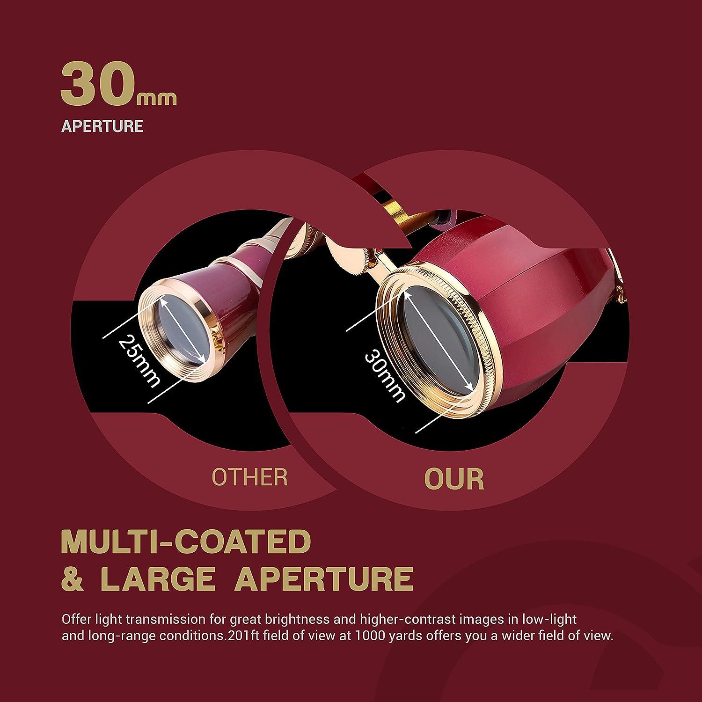 ESSLNB Binoculares Opera 4X30 Prismaticos Opera con Cadena y Bolso /Óptico Vaso por Teatro Concierto