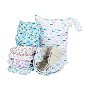Simple Being Reusable Cloth Diapers- Double Gusset-6 Pack Pocket Adjustable Size-Waterproof Cover-6 Inserts-Wet Bag (Ocean Animals)