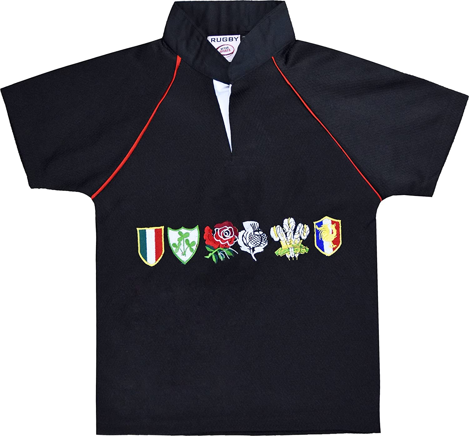 Activewear Children 6 Nation Rugby Shirts Size 3/4Y to 11/12 Year (2XL 11/12Y, Black) NMK6NRS01