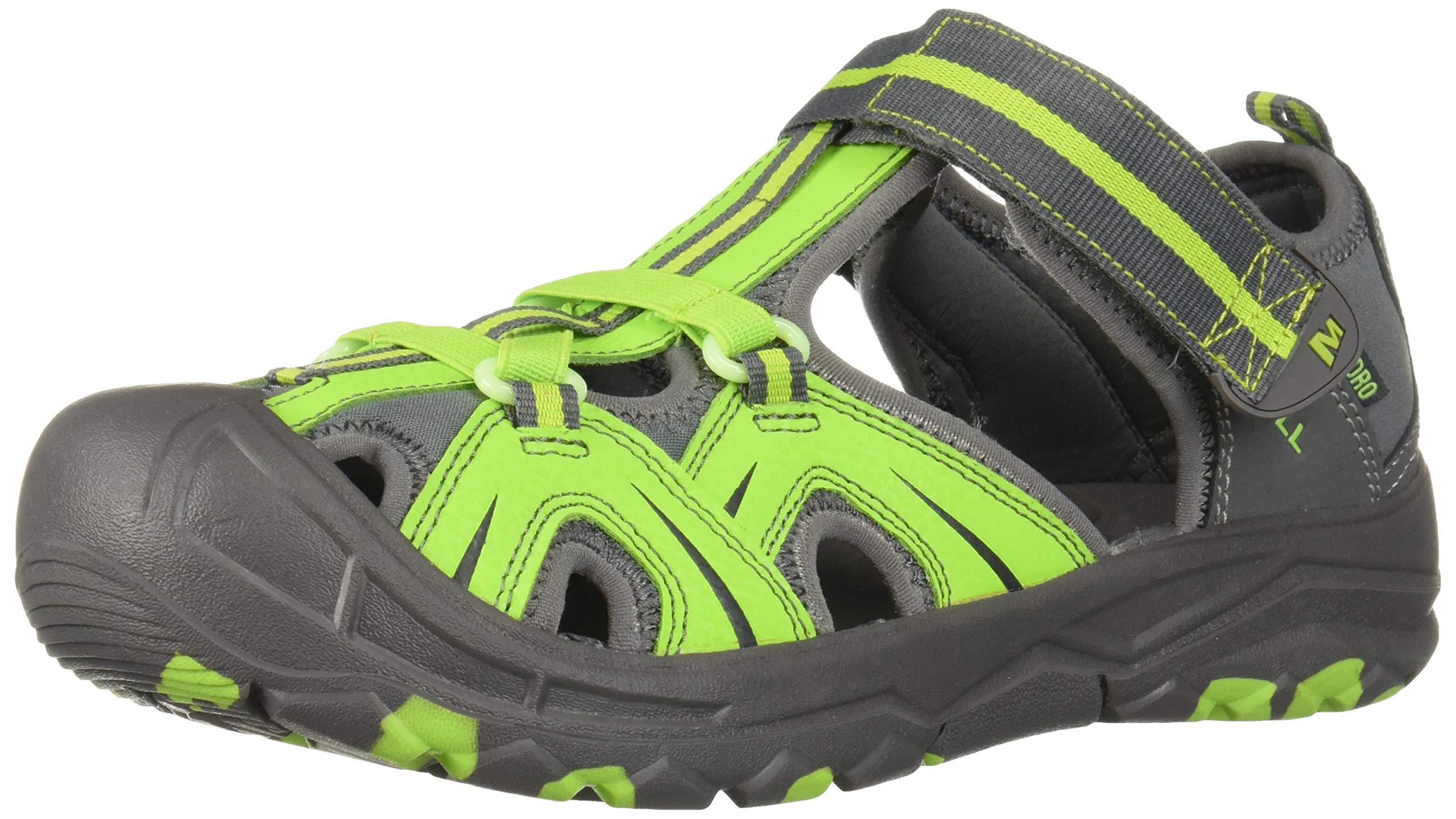 Merrell Boys' Hydro Sandal Grey/Green 3 Wide US Little Kid