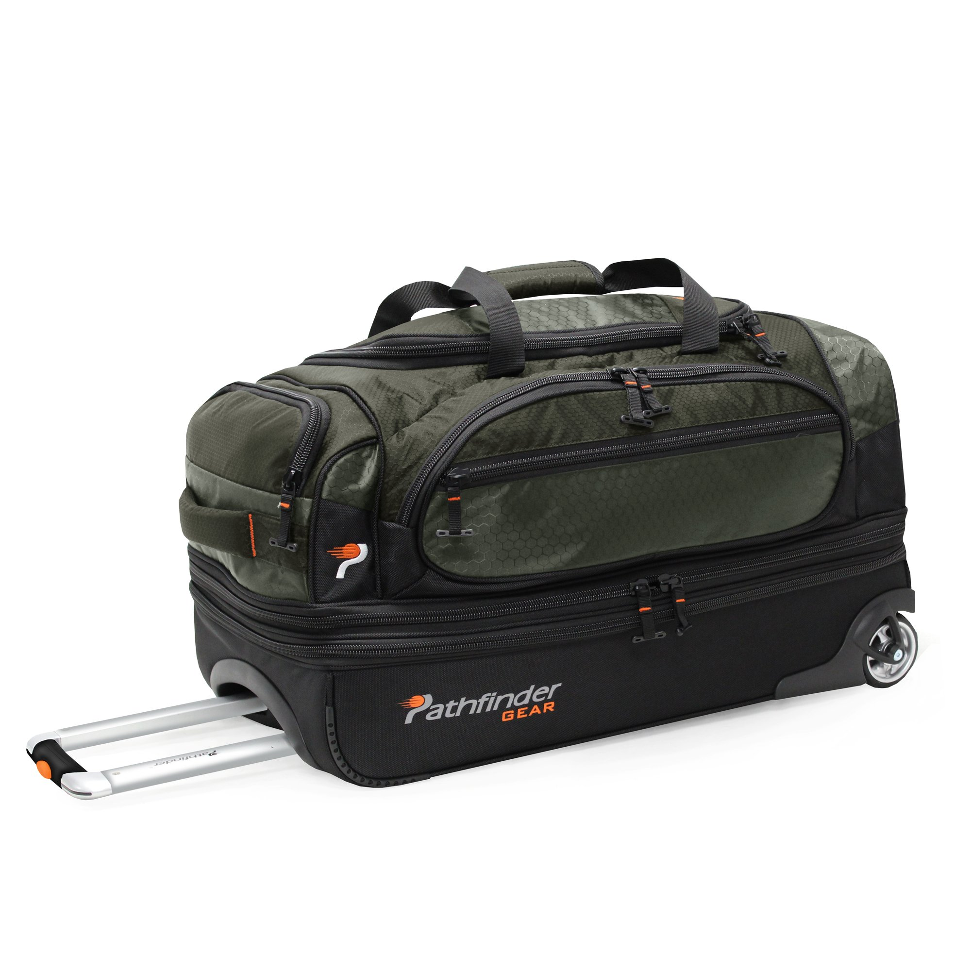 Pathfinder Gear 26 Inch Rolling Drop Bottom Duffel, Olive, One Size