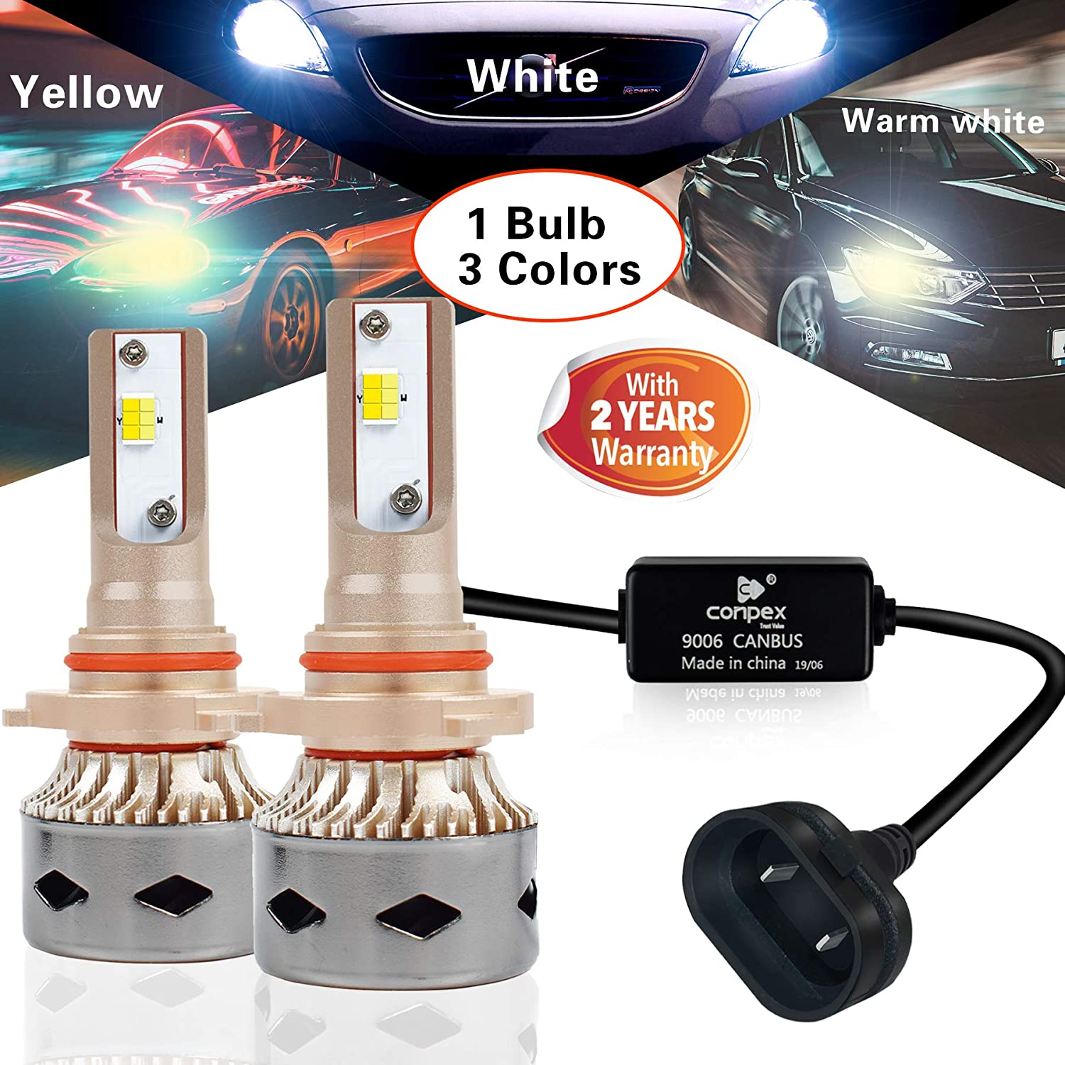 CONPEX 9006 HB4 LED Headlight High Low Fog Beam Bulbs Conversion Kit 10000LM 3 color for Hi//Lo Fog Light Anti Flicker Free Error All-in-one 2 Years Warranty