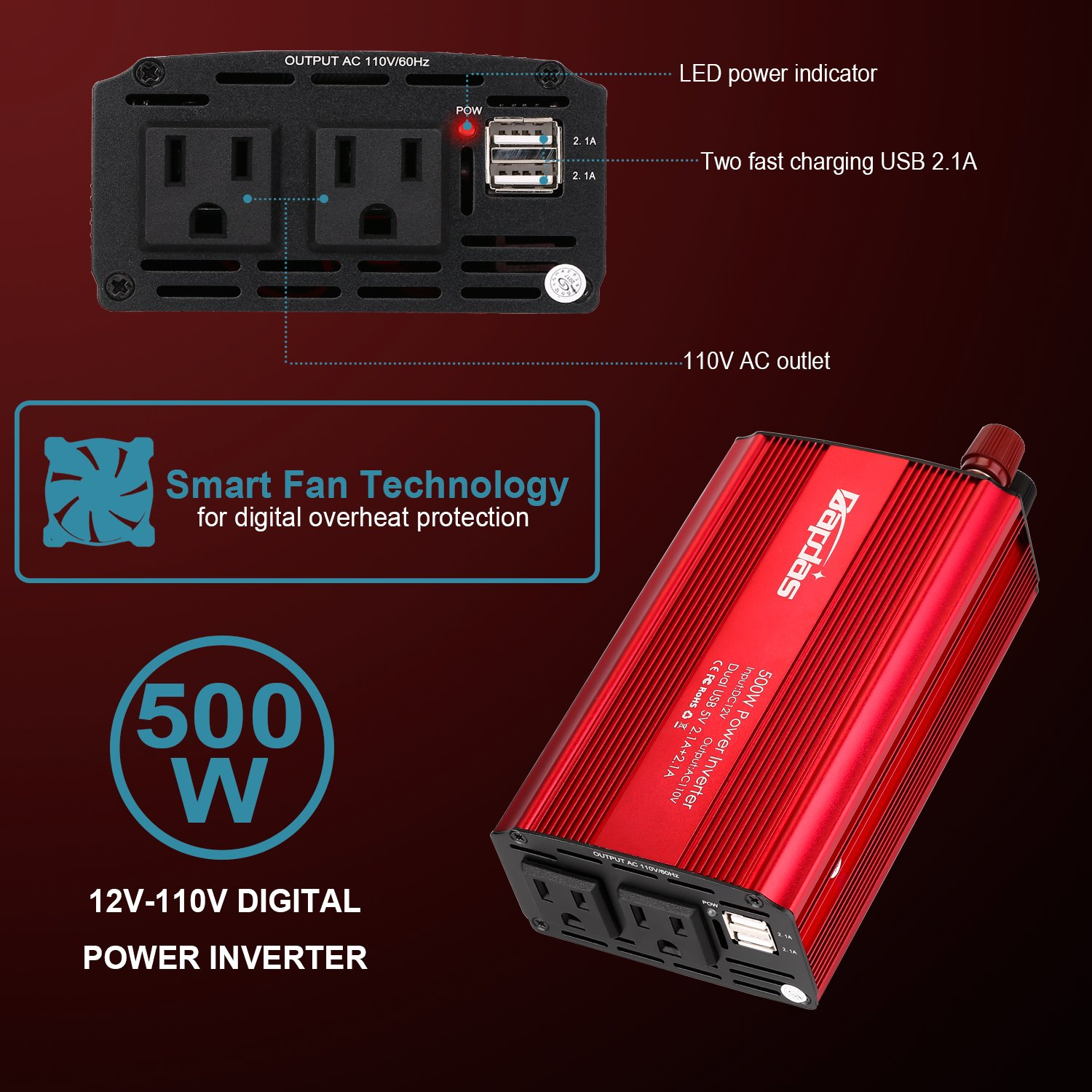 Bapdas 500W Power Inverter Converter DC 12V to AC 110V Car Charger with 4.2A 2 USB Ports Car Power Adapter-Red by Bapdas (Image #6)