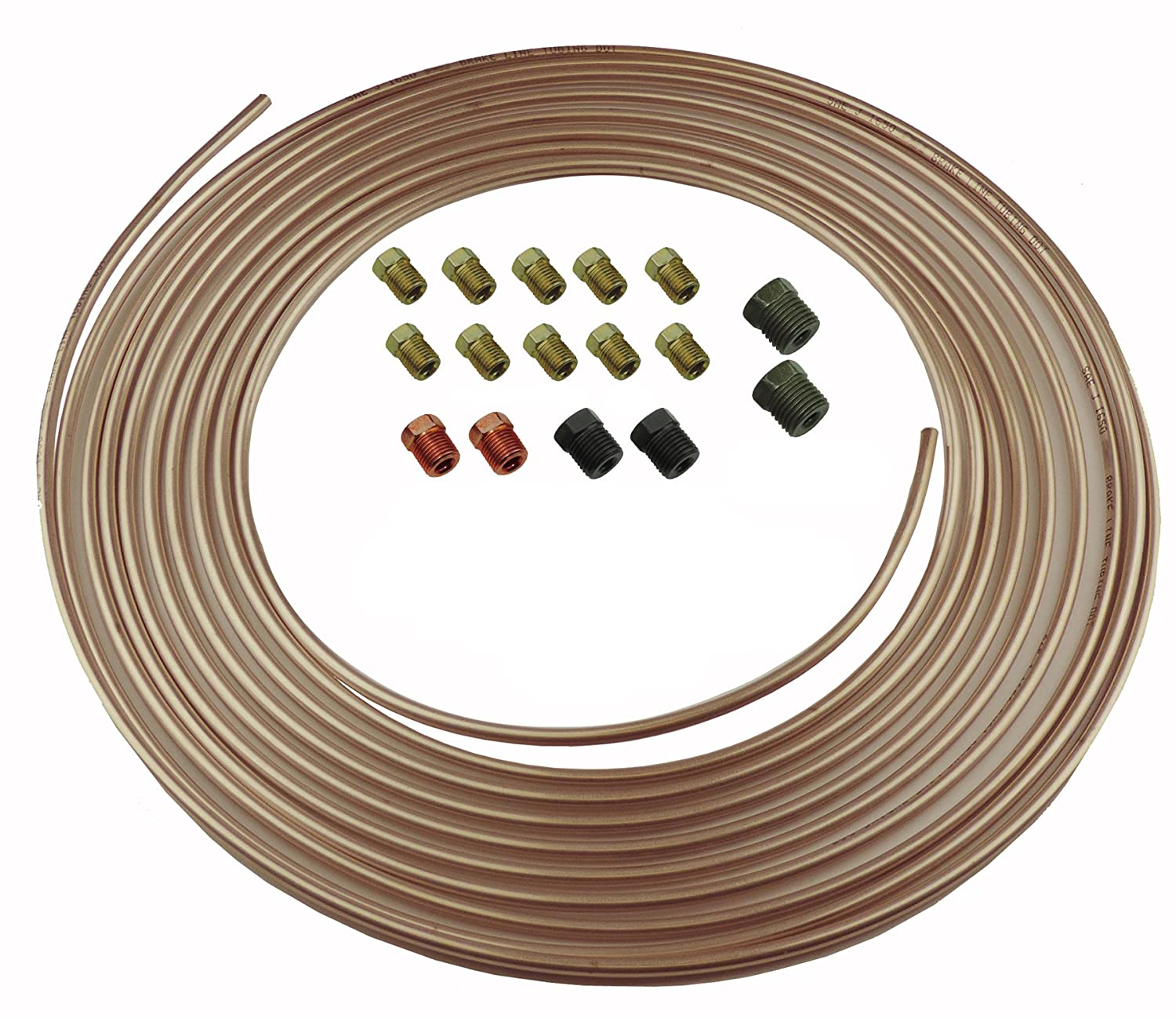 Copper Nickel Brake Line Tubing Kit 3/16 OD 25 Foot Coil Roll all Size Fittings (L-5-4 + L-3-2) Inline Tube
