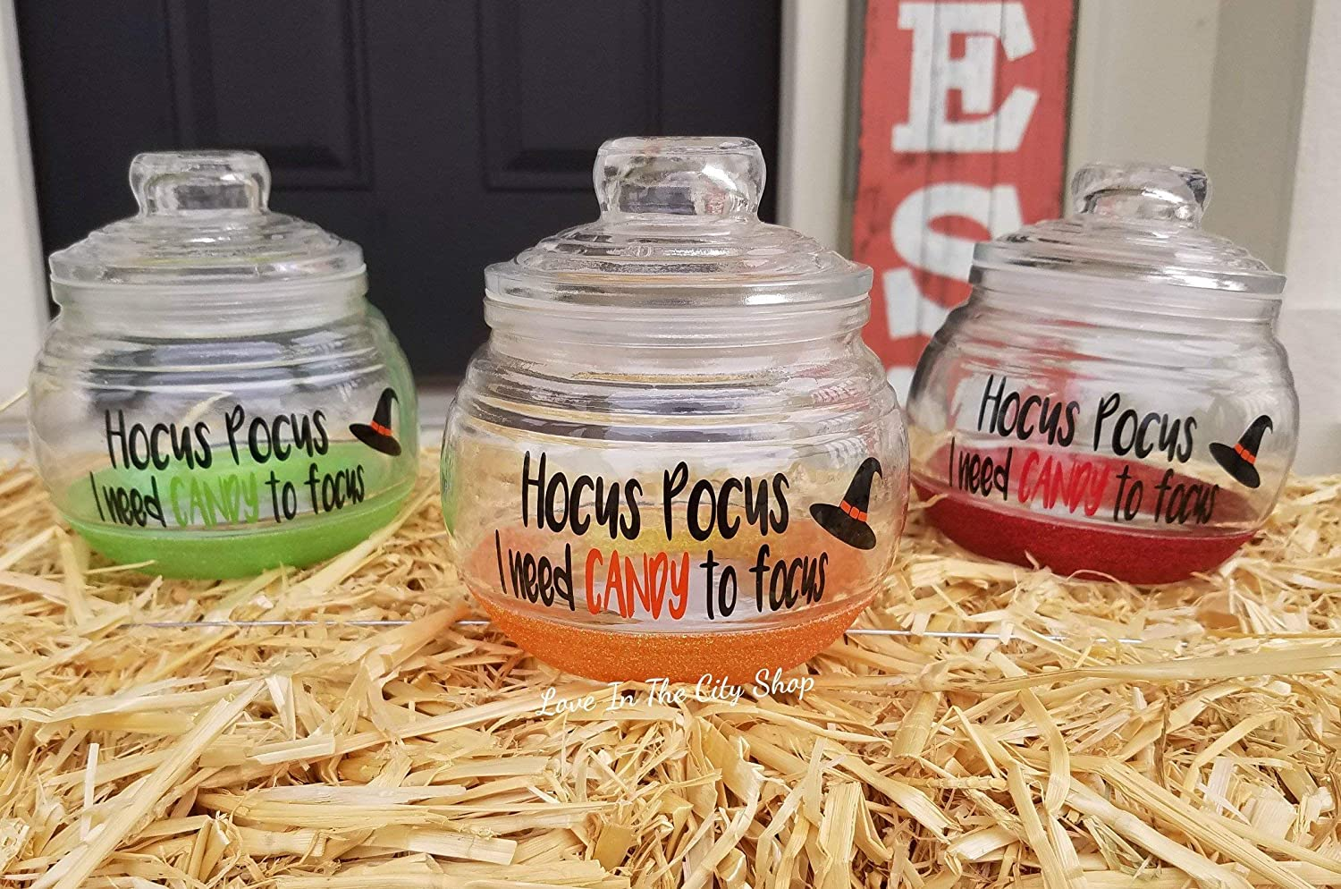 Hocus Pocus I Need Candy to Focus Halloween Candy Jar - a glitter candy jar that is fully personalized. A perfect candy lover gift