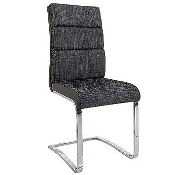 Design Freischwinger Stuhl WELLNESS Strukturstoff Anthrazit Grau Flachstahl  Esszimmerstuhl Esszimmer Küchenstuhl