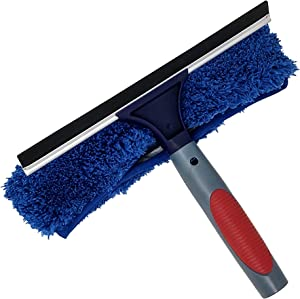 Pomatree Window Cleaning Rubber Squeegee and Microfiber Scrubber | 2-in-1 Window Washing Cleaning Tools Combo | Window Cleaner Attachment Tool for Extension Pole | For Commercial Business and Home Use