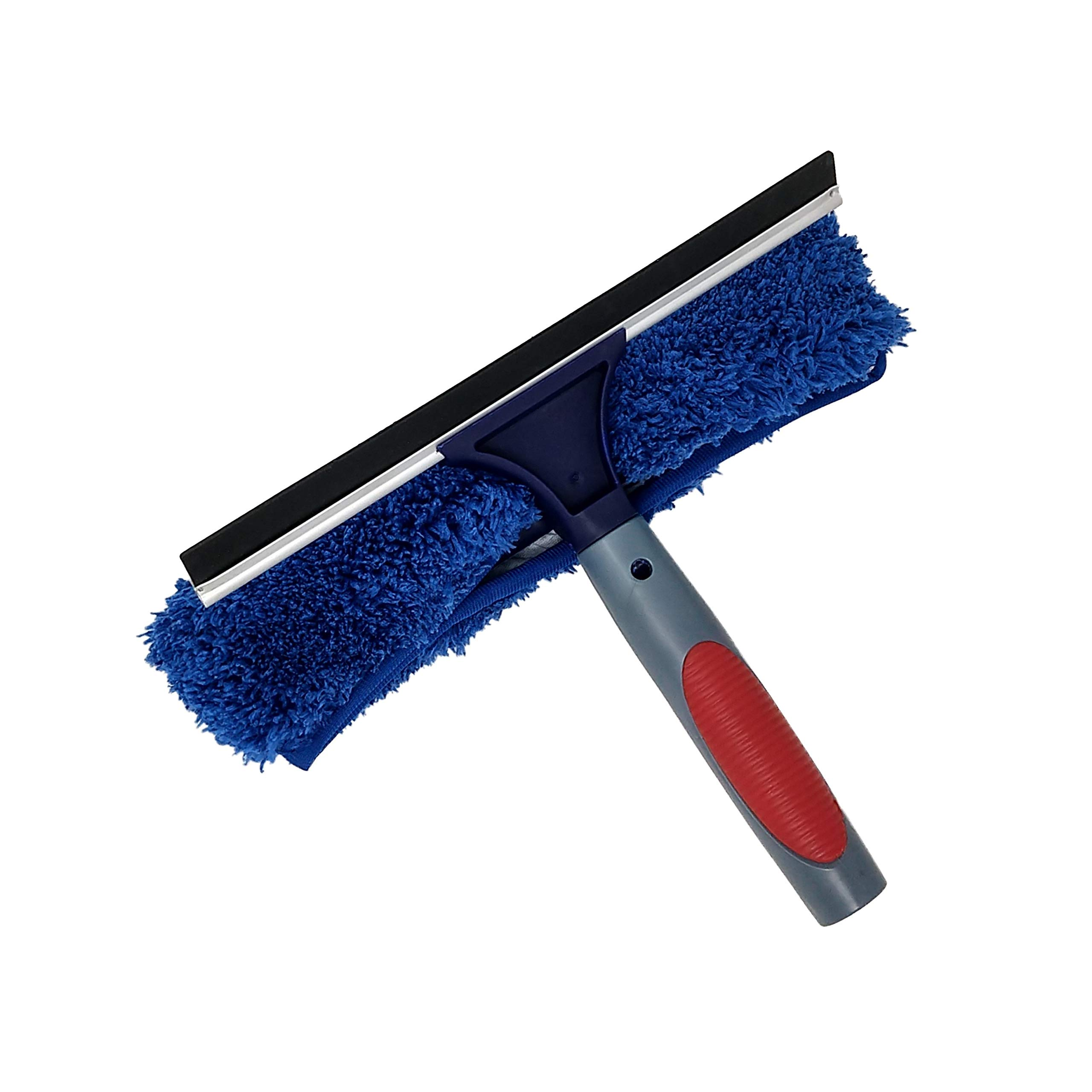 Pomatree Professional Window Cleaning Rubber Squeegee and Microfiber Cloth Scrubber   Combo Set 2-in-1   Washer Attachment Tool for Extension Pole   For Commercial Business and Home Use