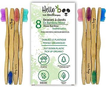 Cepillo de dientes de bambú para adultos y adolescentes |Juego de ...