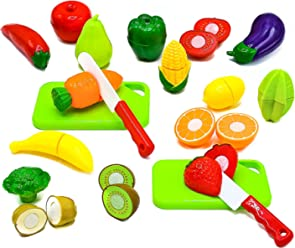 Little Treasures Fruit and Vegetables Play Kitchen Food for Pretend Cutting Food Toys - Educational Playset