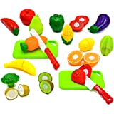 Little Treasures Fruit and Vegetables Play Kitchen Food for Pretend Cutting Food Toys - Educational Playset with Toy…