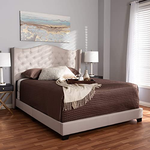 Baxton Studio Alesha Modern and Contemporary Fabric Upholstered Bed