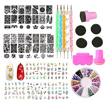 Nail Art Accessories Kit Stamping Template Stamper With Scraper Nails Sticker Decal Gradient Sponges