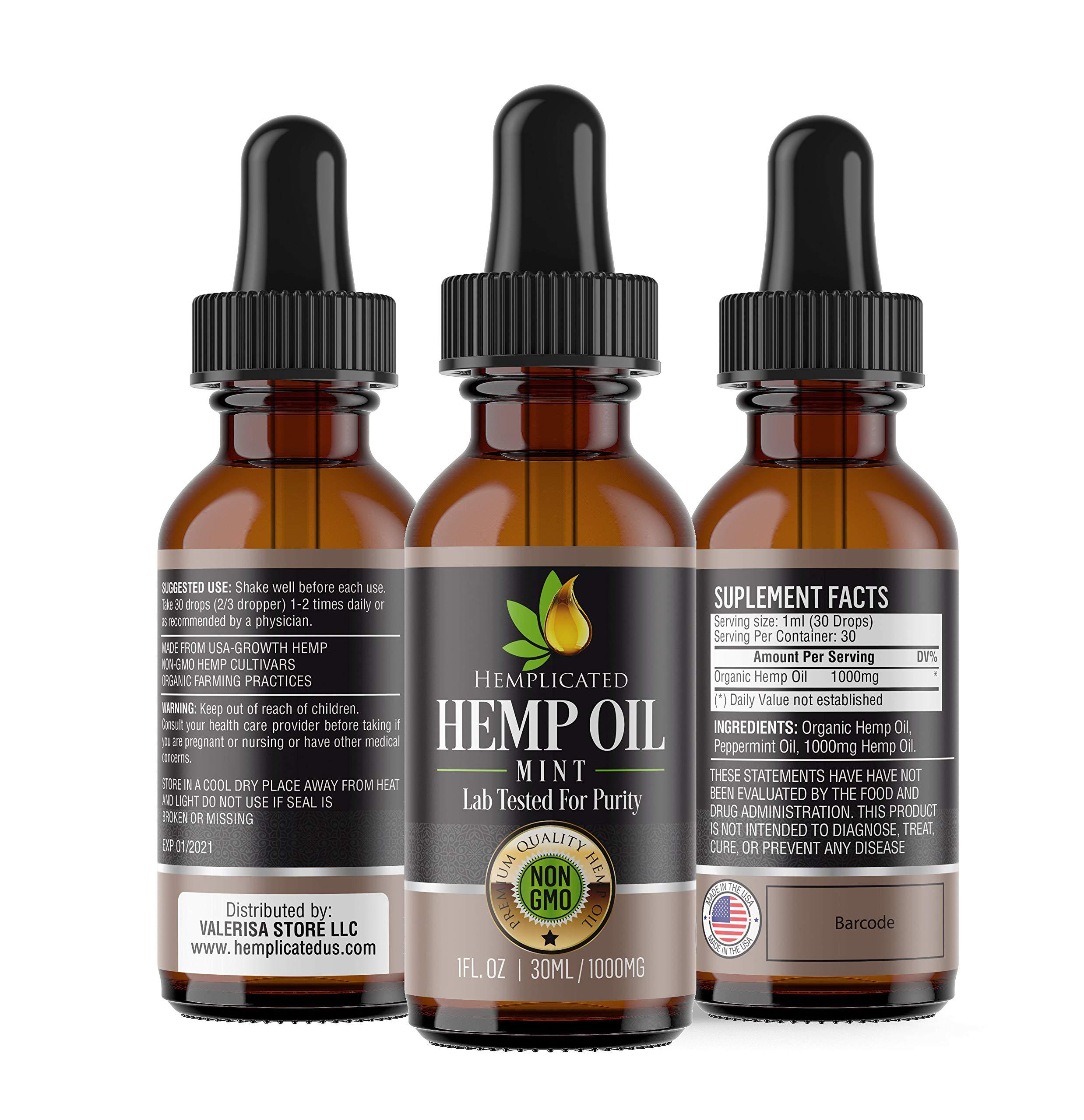 Hemp Oil 1000mg for Pain Relief, Stress Relief, Anti Anxiety, Sleep Aid, PTSD, Skin and Hair - Organic Drops from Certified USA Growth Hemp Farms - 1 Fl Oz (30 ml) HEMPLICATED by HEMPLICATED