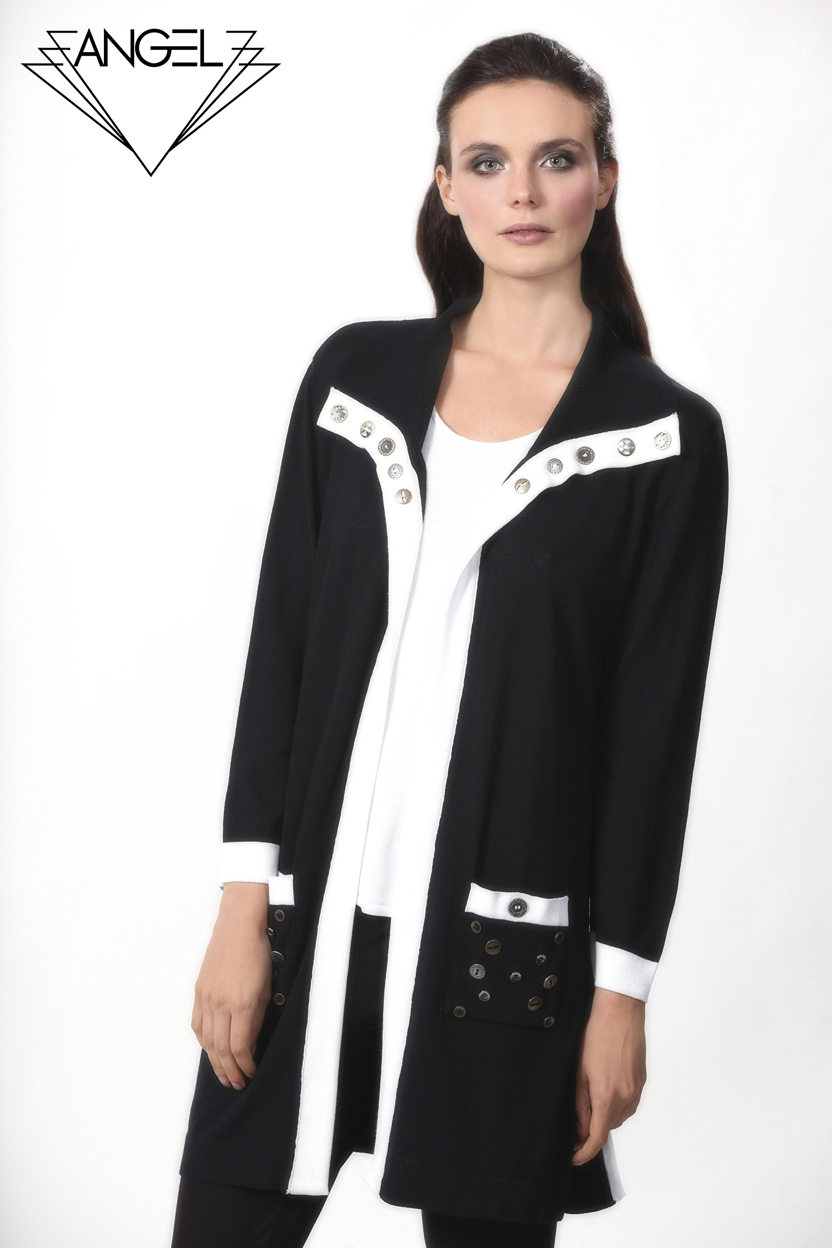 Angel Apparel Button Accent Long Cardigan