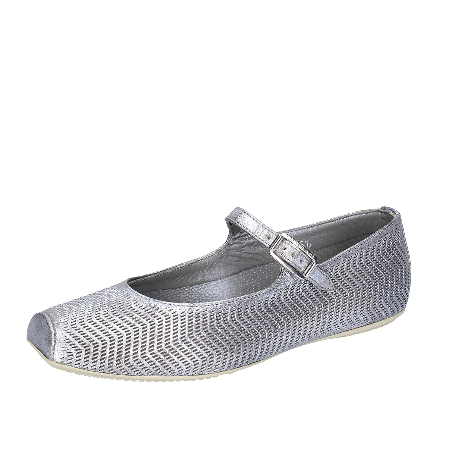 HOGAN Flats-Shoes Womens Leather Silver